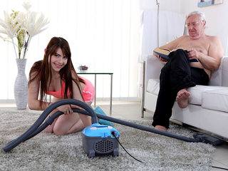 Luna Rival gets fucked while she vacuums the rug